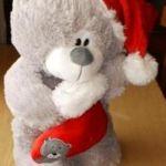 Мишка Санта в колпаке новая Мягкая игрушка  35 см
